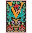 victorian letter v vector image vector image