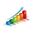 Business graph growth progress blue arrow vector image