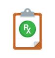 rx prescription and clipboard over white vector image