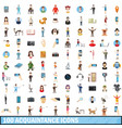 100 acquaintance icons set cartoon style vector image