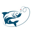 fish jumping for bait hook vector image vector image