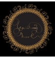 Circle card with golden lettering vector image
