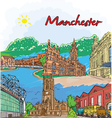 manchester doodles vector image vector image