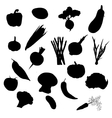 Vegetables black silhouettes set isolated on a vector image