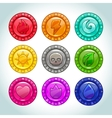 Colorful medallions with nature elements icons vector image