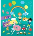 Kids party with toys and food festival vector image