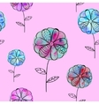 seamless pattern with violet blue flowers vector image