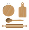 set from wooden kitchen devices cutting vector image