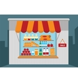 Small shop with open shelves with goods vector image