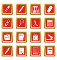 stationery symbols icons set red vector image