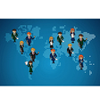 World map business work group people vector image