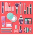 Set of colored cosmetics sticker icons vector image