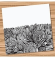 Card with hand drawn abstract doodles vector image