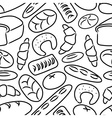 Bakery products doodle sketch icons seamless vector image