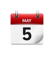 May 5 flat daily calendar icon Date and vector image