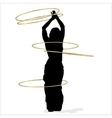 Woman dancing with many hula hoops vector