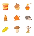 Autumn coming icons set cartoon style vector image