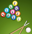 billiard table with balls vector image