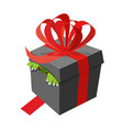 black gift box monster peeking ribbons and bows vector image