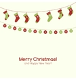 Christmas greeting card with garlands vector image
