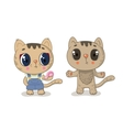 Cute brown kitty girl on a white background vector image