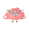 Funny smiling brain in round glasses symbol of vector image
