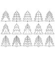 Origami Christmas tree silhouettes vector image