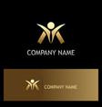 Success man happy gold logo vector image