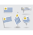 Set of Uruguayan pin icon and map pointer flags vector image