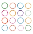 Embroidery stitches circle frames set vector image