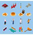 Russia Isometric Touristics Icons Set vector image