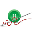 Needle and button vector image vector image
