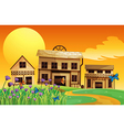 A view of the sunset and the three houses vector image vector image