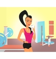 Brunette woman doing selfie in the gym vector image
