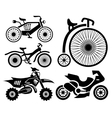 bicycle and motorbike icons collection vector image