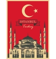 hagia sophia on the background Turkish flag vector image