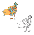 Hand drawn decorative chick vector image