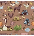 seamless pattern with farm related items vector image