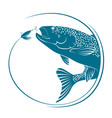 fish jumping for bait vector image vector image