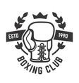 boxing club emblem template boxing glove design vector image