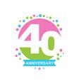 40th anniversary colored logo design happy vector image