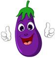 cartoon eggplant giving thumbs up vector image