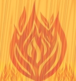 flames fire on the wooden background vector image