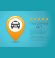 taxi service banner yellow taxi icon yellow map vector image