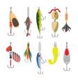 Fishing bait flat icons vector image