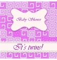 Baby shower greek background twins vector image