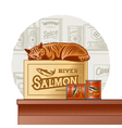 Retro canned fish and sleeping cat vector image vector image