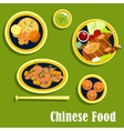 Traditional dinner of chinese cuisine flat style vector image vector image