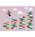 Business woman jumping over higher stack of books vector image
