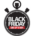 Black friday save up to 80 stopwatch black icon vector image